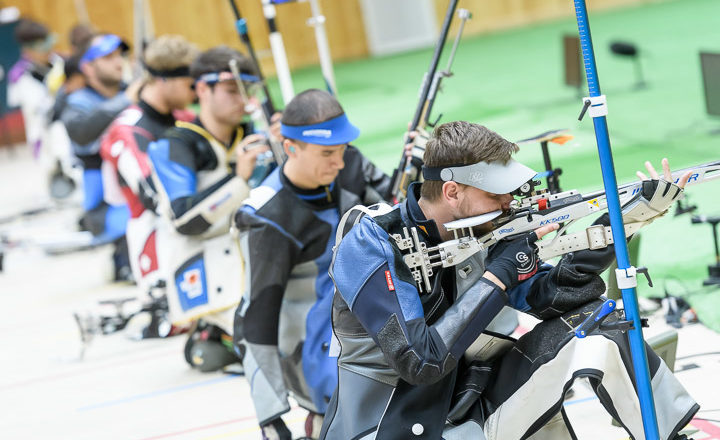 GABALA - JUNE 13: Athletes compete in the 50m Rifle 3 Positions Men Final at the Gabala Shooting Club during Day 6 of the ISSF World Cup Rifle/Pistol on June 13, 2017 in Gabala, Azerbaijan. (Photo by Nicolo Zangirolami)