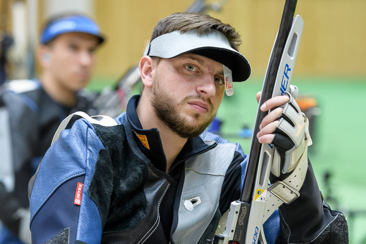 GABALA - JUNE 13: 7th placed Serhiy KULISH of Ukraine competes in the 50m Rifle 3 Positions Men Final at the Gabala Shooting Club during Day 6 of the ISSF World Cup Rifle/Pistol on June 13, 2017 in Gabala, Azerbaijan. (Photo by Nicolo Zangirolami)